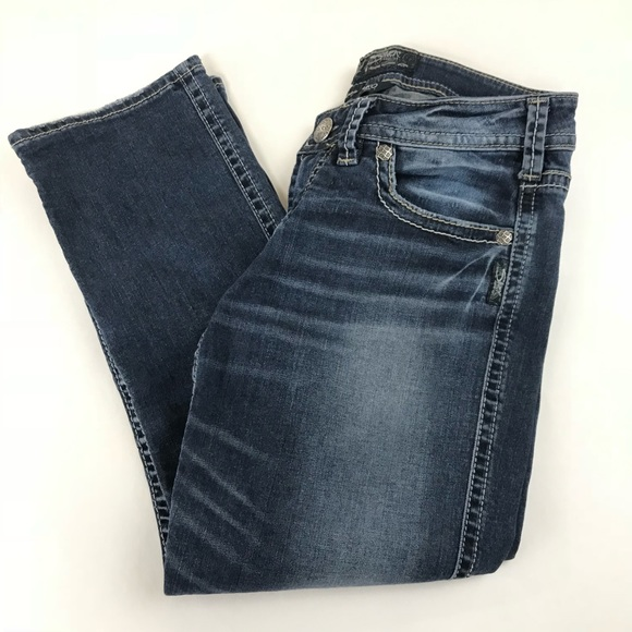 Silver Jeans Denim - Silver Jeans Womens Aiko Low Capri Size W28 Dark